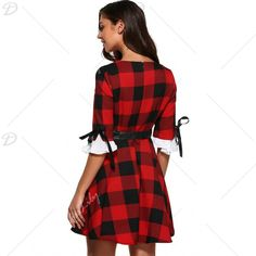 Retro Bowknot Plaid Flare Dress, RED, XL in Vintage Dresses | DressLily.com