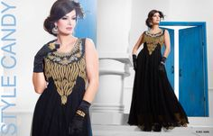 Superbly Designed Party Wear Gown in Netted Fabric with Santoon inner in Black color with beautiful Diamond Hand work done. Best for Parties and Ceremonial Occasions. Party Wear Long Gowns, Evening Party Gowns, Net Gowns, Gowns Of Elegance, Anarkali Dress, Black Party, Designer Gowns, Latest Fashion Trends, How To Wear