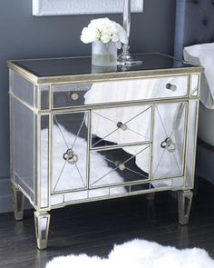 """Amelie"" Mirrored Nightstand - traditional - dressers chests and bedroom armoires - Horchow Mirrored Furniture, Dresser With Mirror, Furniture, Mirrored Side Tables, Furnishings, Interior, Mirrored Bedroom Furniture, Bedside Tables Nightstands, Mirrored Nightstand"