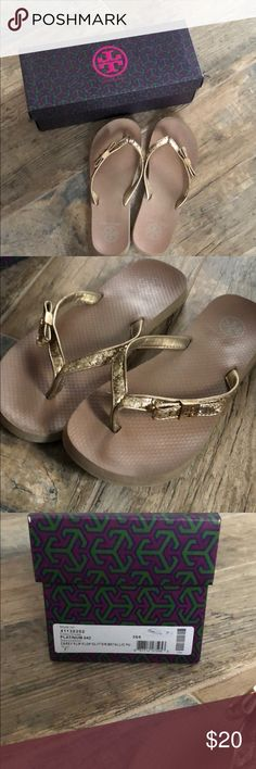 Tory Burch Platinum Gold Carey Flip Flop Glitter Used many times, price reflects. My feet grew while pregnant leaving me to part with all my favorites Tory Burch Shoes Sandals