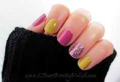 """I used Julep Alma (mustard), Zoya Reagan (pink), and Shimmer Polish Melissa (glitter) to create this fun mismatched mani."""