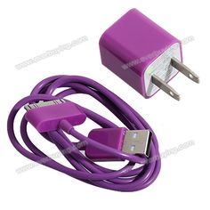 Cheap Mini 2 in 1 Charger Kit US Standard USB Power Adapter + USB Cable for iPhone 4/4S/3GS/3G Purple (PURPLE) | Everbuying.com