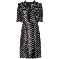 L.K. Bennett Vetti Black Print Dress (478,710 KRW) ❤ liked on Polyvore featuring dresses, pattern dress, wrap dress, wrap style dress, print wrap dress and tweed dresses