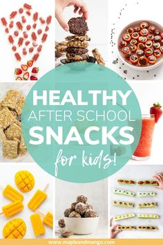 Looking for healthy after school snacks that your kids will love? Choose from 40 options - something for everyone! Lots of fun, healthy snack ideas for kids including both sweet and savoury options. Includes quick and easy ideas as well as make ahead options that are ready for kids to grab throughout the week.   www.mapleandmango.com Healthy Snack Options, Savory Snacks, Healthy Snacks For Kids, Snack Recipes, School Snacks For Kids, High Protein Snacks, Kid Friendly Meals, Clean Eating Snacks, Sweet