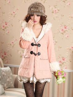 New Arrival Horn Button Hooded Pink Long Coat