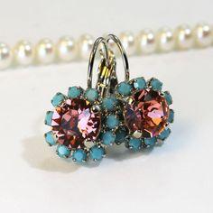 Coral Rose Peach Blush Turquoise Aqua Blue Halo by TIMATIBO, $27.00