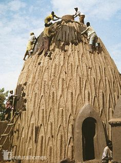 Another irresistible image of the use of catenary arches or domes, here for housing. These are clay Obos (right) of the Musgum people in Pouss, Cameroon.
