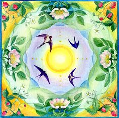 Spring Flowers Mandala Cards From original paintings by artist Anne Thomas.  These paintings are an expression of the vibrant energy of spring, exploring the beauty and incredible geometry found in nature, visioned into meditative mandalas.  Perfect for Imbolc, Easter, Spring Equinox, Births, Birthdays or simply to gift a friend.  Pack of 5 cards with envelopes.  Use the menu to choose from the following designs:  1. Snowdrops - simplicity of new beginnings  2. Celandines and Violets - In…