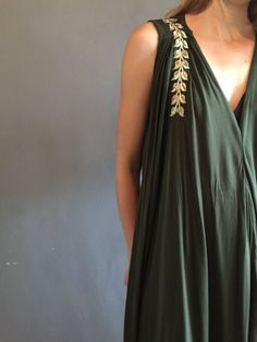 Luxurious olive green rayon fabric with golden leaf embroidery detail over shoulders. One Size Fits All, Olive Green, South Africa, Flow, Embroidery, How To Make, Collection, Dresses, Design