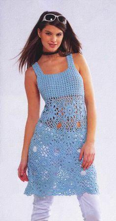 Туника голубого цвета - Вязание Крючком. Блог Настика. Схемы, узоры, уроки бесплатно