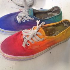 DIY canvas shoes painted with craft paint like a rainbow!!!!
