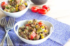 Mexican Quinoa Salad with creamy avocado dressing - yum!