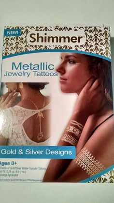 NEW Shimmer Metallic Jewelry Tattoos Gold/Silver Designs  Ages 8+ As Seen On TV #GlimmerBodyArt
