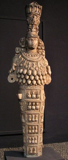 "Divine Feminine - Artemis of Ephesus.    ""Diana (Artemis) of Ephesus as a specialized form of Diana from late antiquity that includes aspects of Ishtar, Isis, Cybele and Inanna.  She is a comprehensive figure of the divine feminine, and was called ""Queen of Heaven"", ""Magna Mater"" (Great Mother), Mother of the Animals, and Lady of the Wild Beasts. The many pomegranate-like breasts  show her also as an image of Mother Nature herself, fruitful and providing for all living things."