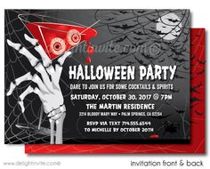 Halloween Cocktail Party Invitations For Adults Adult Invites