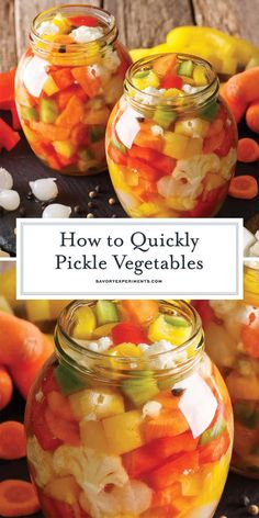 How to Quickly Pickle Vegetables The Best Vegetables to Pickle! - Step-by-step instructions on how to quickly pickle vegetables for salads, sides and any dish that needs a little pick me up + the best vegetables to pickle! Fermentation Recipes, Canning Recipes, Canning Tips, Pickled Vegetables Recipe, Pickling Vegetables, How To Pickle Vegetables, Canning Pickles, Healthy Snacks, Healthy Recipes