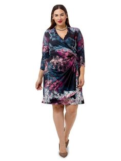 Plus Size ISABEL + ALICE Painterly Printed Faux Wrap Dress