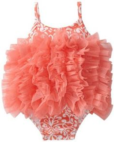 The Gilded Lily Home: Cute Bathing Suits for Babies - Mud Pie's Coral Damask Bubble, size 12 months, $29.95