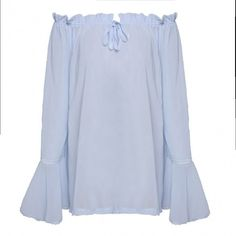 New Sexy Women Off-shoulder Flare Sleeve Tops Chiffon Casual Loose Tops