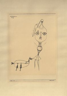 Paul Klee 'Glasfiguren' (Glass Figures)  1923 Pen on paper on cardboard