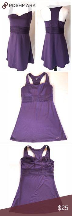"Reebok Purple Active Stretch Sport Athletic Dress Purple Active Athletic sport play mini dress by Reebok.  Built in shelf bra. Racerback.  Stretchy poly spandex blend.  Size Large. Approx measurements:  chest across laying flat (unstretched) 17.25"", length 33.5"".   In excellent condition. Reebok Dresses Mini"