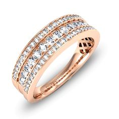 Venus par Zeina Alliances : Alliance demi tour diamant or rose. Or Rose, Rose Gold, Gold Rings, Jewels, Venus, Diamonds, Bouquet, Jewelry Ideas, Accessories