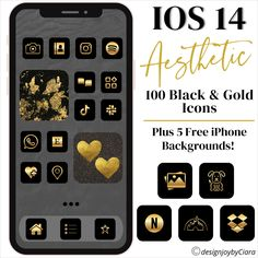 100 iOS 14 App Icons Pack | iOS 14 App Covers | iPhone Aesthetic Themes | Icons For iPhone | iOS App Bundle | iOS App Icons | iOS 14 aesthetic | Gold Icons | Black Gold iOS 14 app icons | iOS 14 Aesthetic #ios14appbundle #ios14appicons #ios14aesthetic #ios14 #ios14apps #ios14iconpack #ioswidget #ios14appsgold #iosappicons Unique Wallpaper, Wallpaper Ideas, Make Money Blogging, How To Make Money, Gold App, App Covers, Aesthetic Themes, Craft Business, Icon Pack