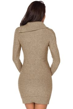0ca10973656 Asymmetric Buttoned Collar Apricot Bodycon Sweater Dress