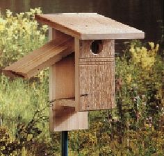 Bluebird and Sparrow house. (Apparently if you build 2 within 30 feet of each other one will get sparrows and defend the area against other sparrows allowing a bluebird to nest in the other)