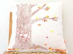 Personalised hand printed Love Tree scatter cushion cover