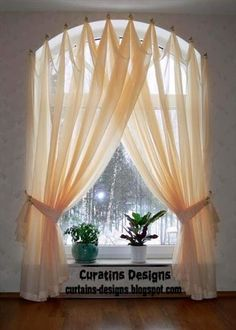 Half Circle Window Curtains Arched windows curtains on the hooks Arched windows treatmentes Curtains For Arched Windows, Drapes Curtains, Modern Curtains, Valances, Window Blinds, Half Window Curtains, Bay Windows, Curtains For Kitchen Window, Arch Windows