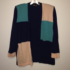 Vintage Multi-Color Cardigan (Made In Italy) Vintage. Teal/Peach/Navy Cardigan. Super Soft! MADE IN ITALY (Anna Tricot) Size 48 (Fits Large) Shoulder pads (can be removed!) Anna Tricot  Sweaters Cardigans