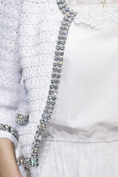 crochet a jacket and sew the bling-bling to make a Chanel-look-alike http://glamourndfashion.tumblr.com/