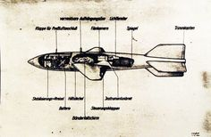 80-G-701531: Nazi secret weapon, version of the V-2 rocket. Drawing of weapon. Photograph released November 1945.