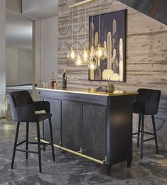 Gold Metal and Glass Pendant on Maisons du Monde. Take your pick from our furniture and accessories and be inspired! Home Bar Rooms, Home Bar Areas, Diy Home Bar, Home Living Room, Home Bar Decor, Home Bar Cabinet, Bar Cabinets For Home, Wet Bar Cabinets, Modern Home Bar Designs