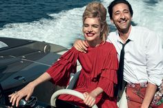 Top model Natalia Vodianova is joined by Adrien Brody in Nice, France, styled by Grace Coddington in 'L'amour Toujours'. Peter Lindbergh captures the amorous duo for Vogue US July Adrien Brody, Natalia Vodianova, Peter Lindbergh, Grace Coddington, Vogue Photo, Vogue Us, Vogue Editorial, Editorial Fashion, Alessandro Michele