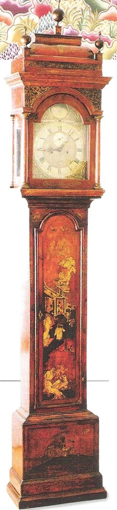 *ANTIQUE CLOCK ~ 18th century scarlet tall case clock with  chinoiserie scenes by London Clockmaker James Smith. Heather & Co Antiques