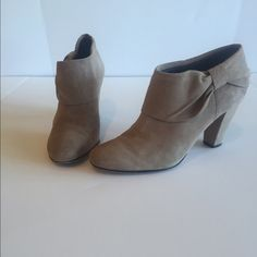 "Kate Spade Tan Suede Booties Tan soft suede, pleated cuff bow booties in good used condition. 2.5"" suede covered heels. Zara Shoes Ankle Boots & Booties"