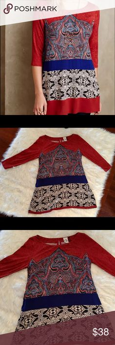"""Anthropologie Akemi + Kin NWOT Gia Tunic The Tunic is so beautiful and soft! It is brand new! It measures 28"""" long 19"""" from armpit to armpit when it is laid flat and 18"""" from shoulder to sleeve. It is 94% Rayon and 6% Spandex. If you need additional measurements please let me know and I will get them to you quickly before purchasing. Anthropologie Tops Tunics"""