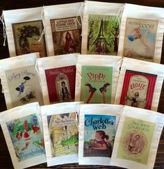 Set of twelve (12) classic storybook favor bags. These are perfect for your little one's birthday party or your friend's baby shower! You can message us with specific book requests or you can receive a variety of book covers. These cotton muslin bags are the perfect favor bags for your event!