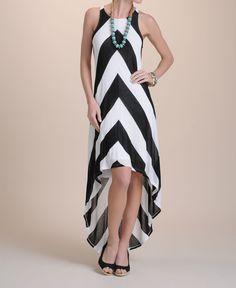 Ella Moss Mitered Stripe Hi-Low Dress