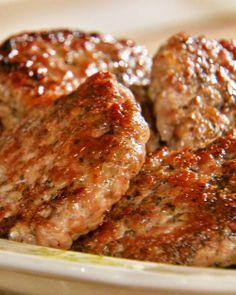 simple homemade sausage patties w/ ground pork, garlic, dried sage, thyme, fennel, nutmeg, black pepper, egg white & cooking oil