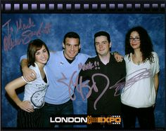 A signed cast photo of the SciFi Channel show Warehouse 13 with me.    From left to right - Allison Scagliotti, Eddie McClintock, Me and Joanne Kelly.     I like this one