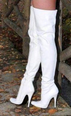 White thigh boots #highheelbootsstockings