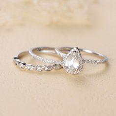 e4ec4ad5c 0.70 CT Pear Cut White Sapphire Halo 14K Solid WHite Gold Trio Wedding Ring  Set