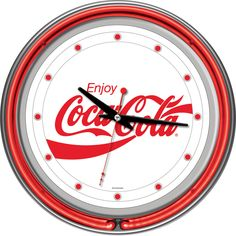 This Enjoy Coca-Cola Red Neon Wall Clock features the vintage script logo and a retro red neon glow. The chrome Coke kitchen clock looks great near any soda fountain! 14 in. Neon Clock, Retro Clock, Neon Run, Coca Cola Decor, Kitchen Clocks, Billiards Pool, Pool Accessories, Soda Fountain, Quartz Clock Mechanism
