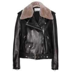 Acne Studios Mape Leather Jacket With Detachable Shearling Collar ($1,210) ❤ liked on Polyvore featuring outerwear, jackets, black, real leather jacket, black leather jacket, acne studios, genuine leather jacket and black jacket