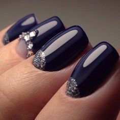 Blue nails with rhinestones, Evening nails by shellac, Glossy nails, Half moonnails with rhinestones, Moon on the nails, Moon on the short nails, New year nails ideas 2017, Party nails