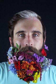 / visage / personnage / fleurs / barbe / vitiligo&piebaldisme / olokosmon / vertforêt / homme / bonjour