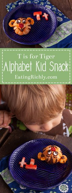 This Daniel Tiger kid snack is great for cooking with kids, and teaching the letter T! Part of #MiniChefMondays on EatingRichly.com